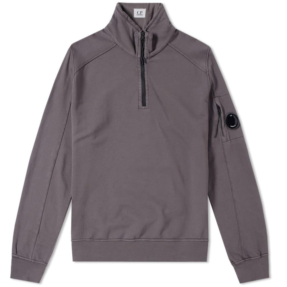 C.P. Company Garment Dyed Light Fleece Half Zip Sweat Grey