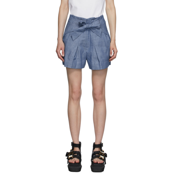 Photo: 3.1 Phillip Lim Blue Chambray Front Tie Shorts