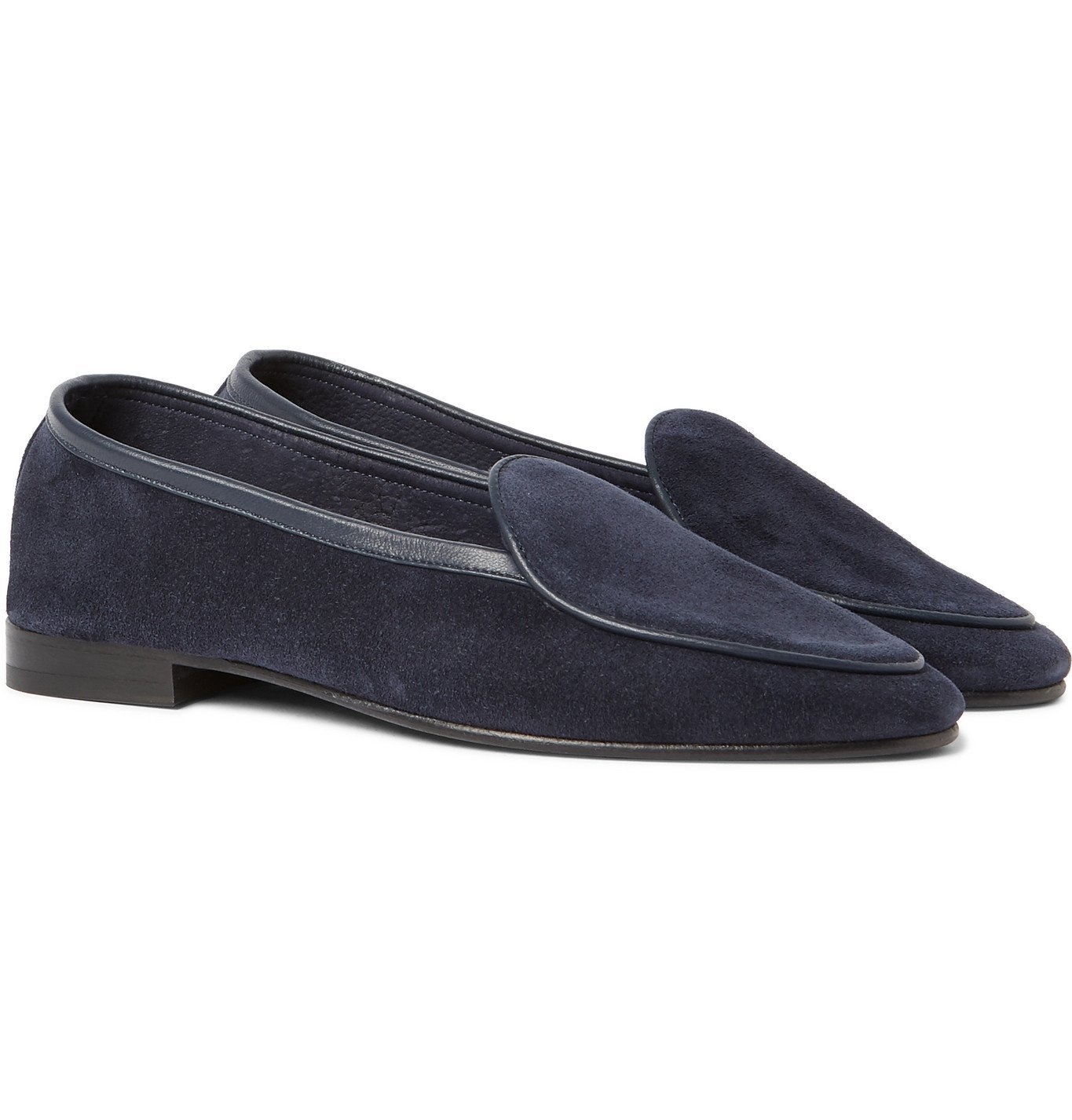 Photo: George Cleverley - Hampton Leather-Trimmed Suede Loafers - Blue