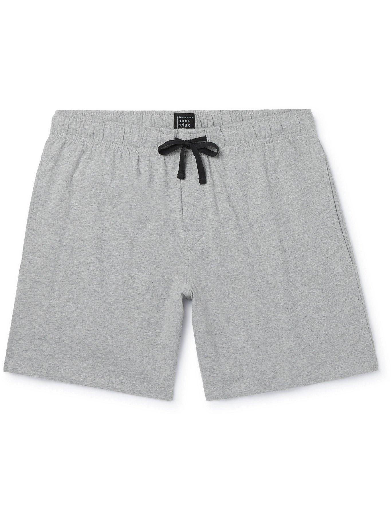 Photo: SCHIESSER - Mélange Cotton-Jersey Pyjama Shorts - Gray - S