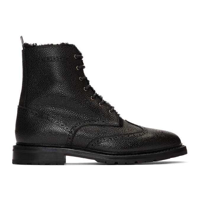 Photo: Thom Browne Black Shearling Lining Wingtip Boots