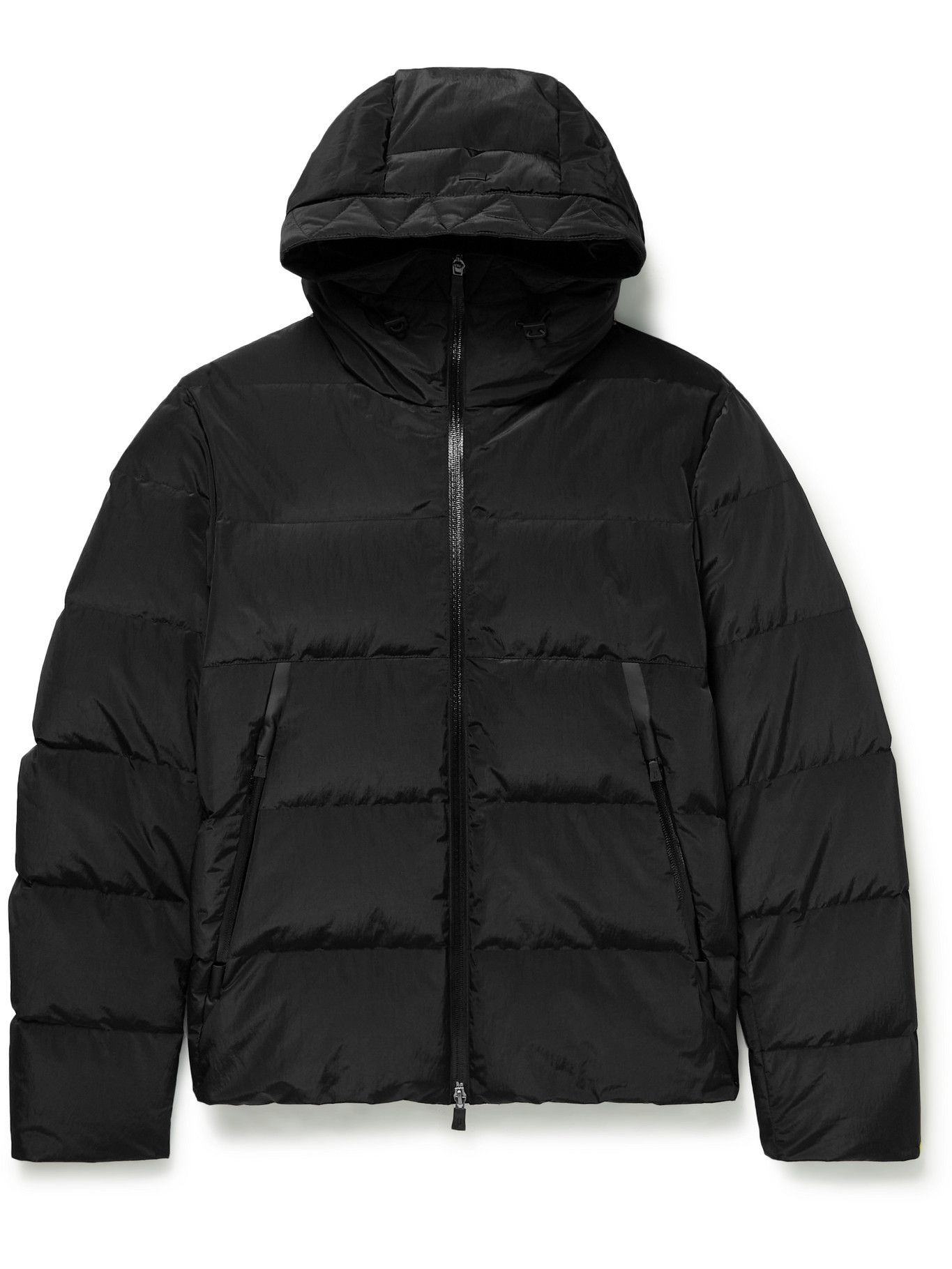 Photo: Herno Laminar - Winter Opalescent Slim-Fit Quilted Shell Hooded Down Jacket - Black