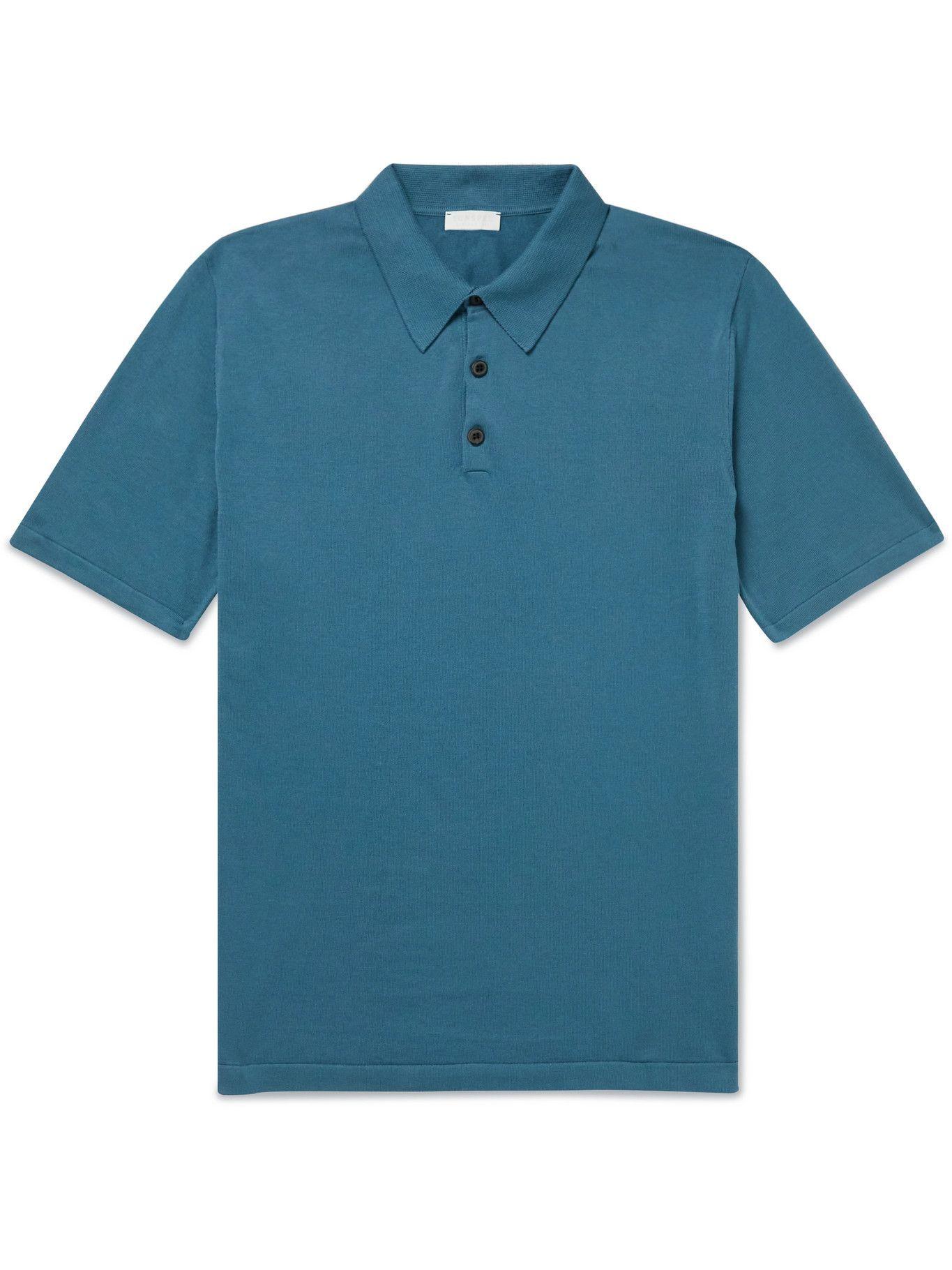 Photo: Sunspel - Slim-Fit Sea Island Cotton Polo Shirt - Blue