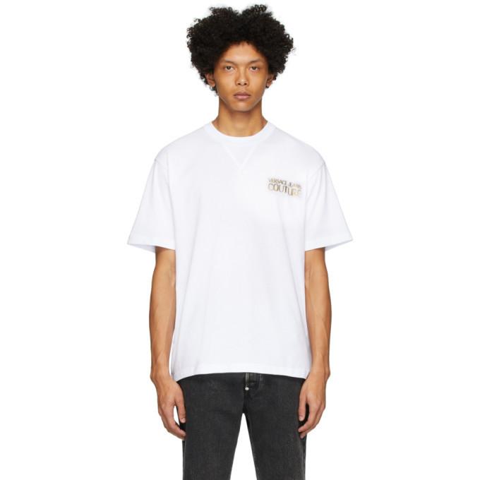 Versace Jeans Couture White Metallic Logo T-Shirt
