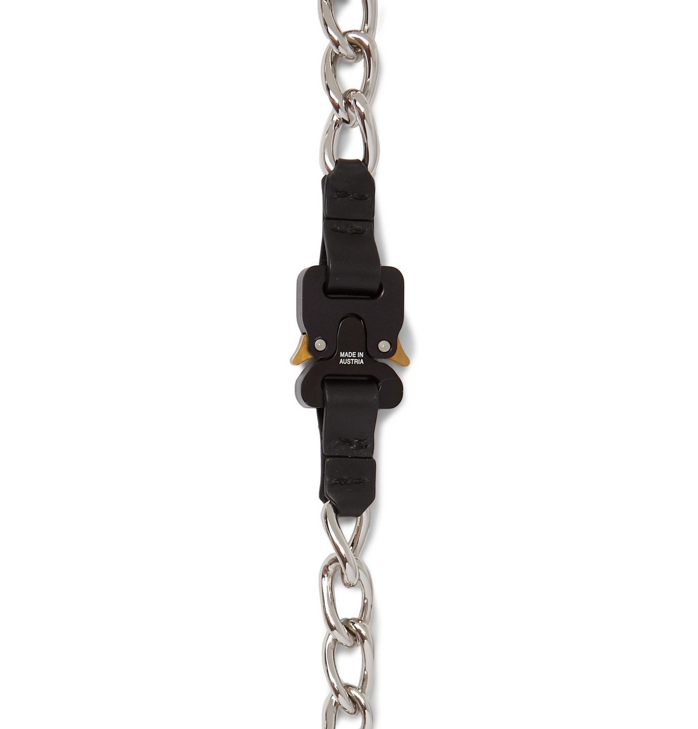 1017 ALYX 9SM - Leather-Trimmed Silver-Tone Chain Necklace - Black