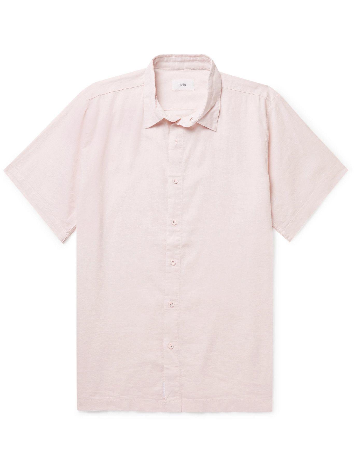 Photo: Onia - Linen-Blend Shirt - Pink