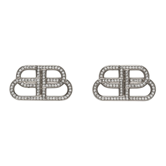 Photo: Balenciaga Silver Small BB Stud Earrings