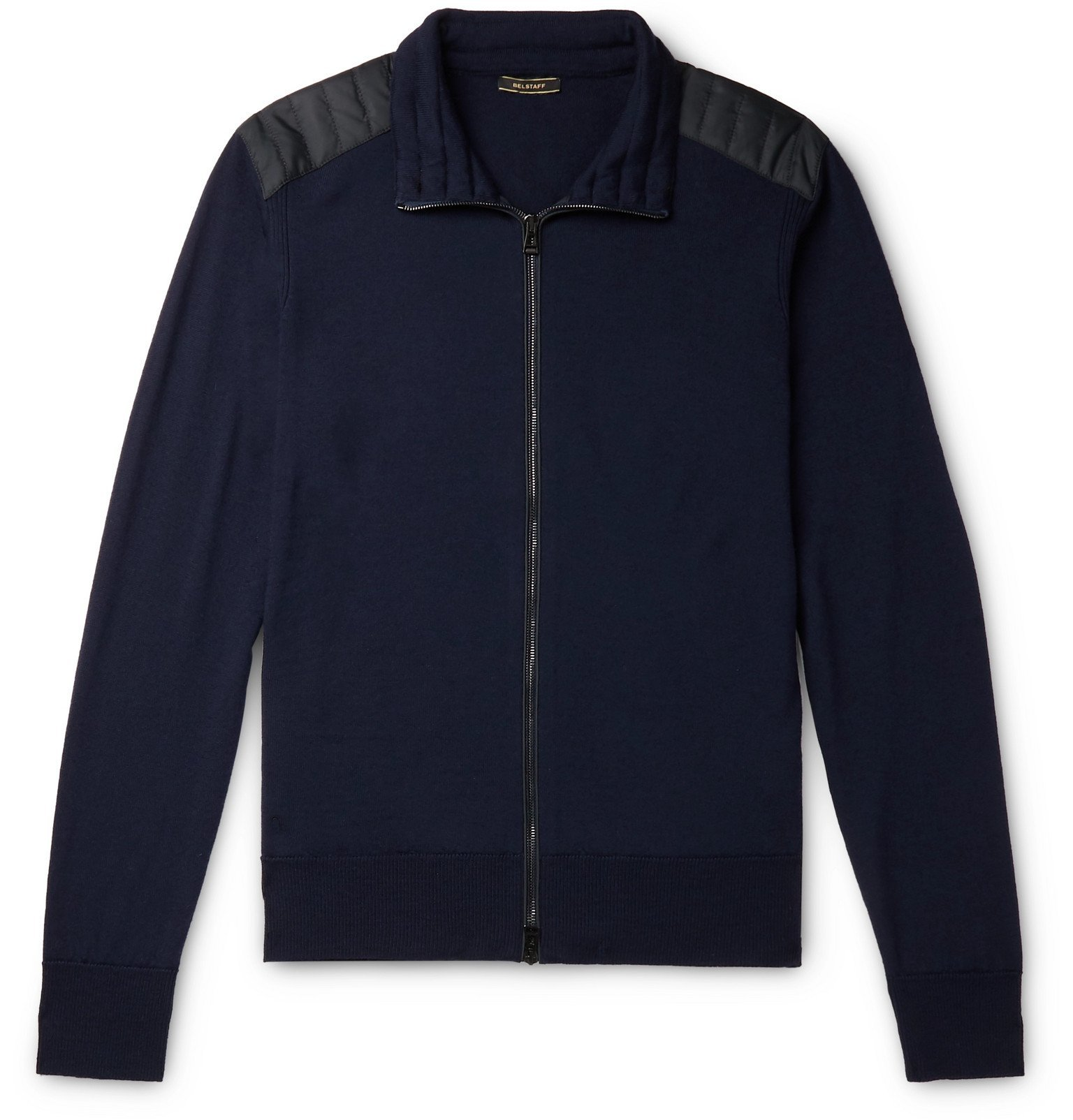 Belstaff - Kelby Slim-Fit Quilted Shell-Trimmed Wool Zip-Up Sweater - Blue