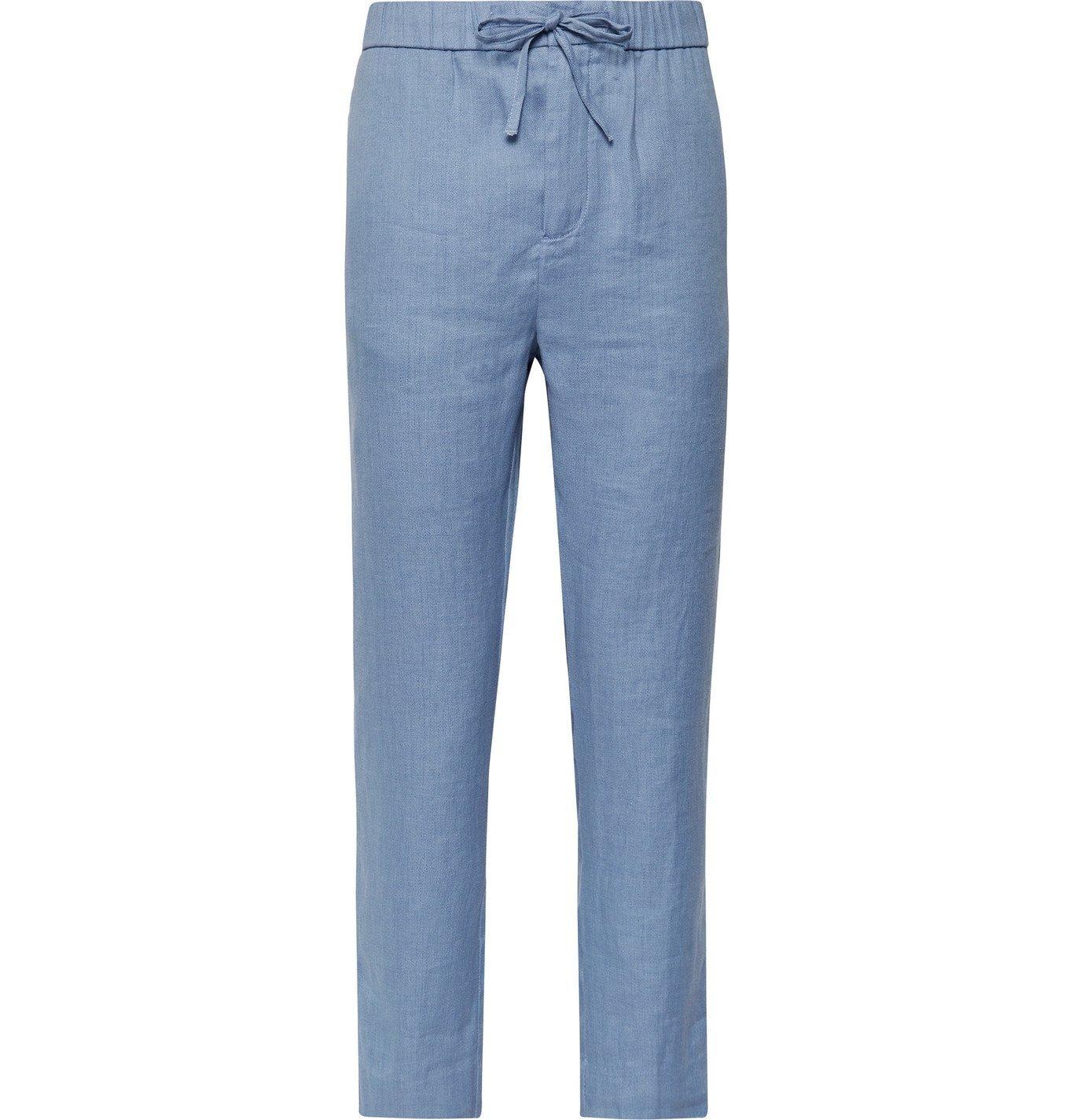 Photo: Frescobol Carioca - Sandro Linen and Cotton-Blend Drawstring Trousers - Blue