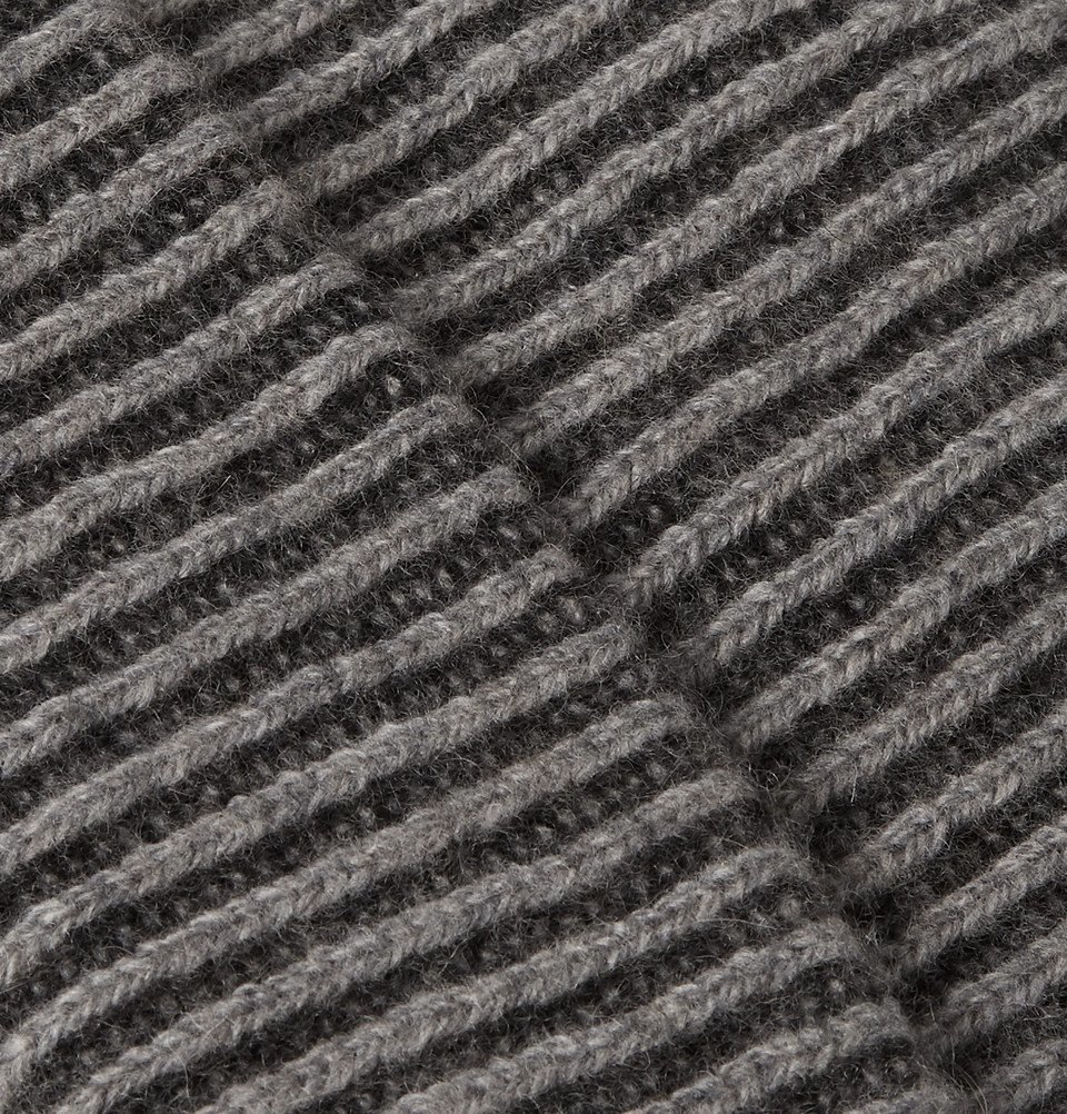 The Elder Statesman - Watchman 2 Striped Ribbed Cashmere Beanie - Charcoal