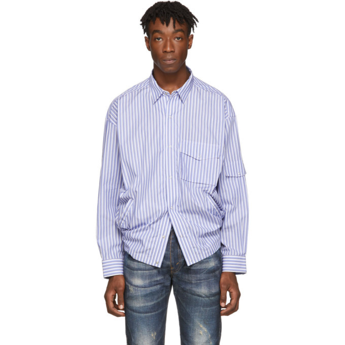 Martine Rose Blue Striped Shock Cord Shirt
