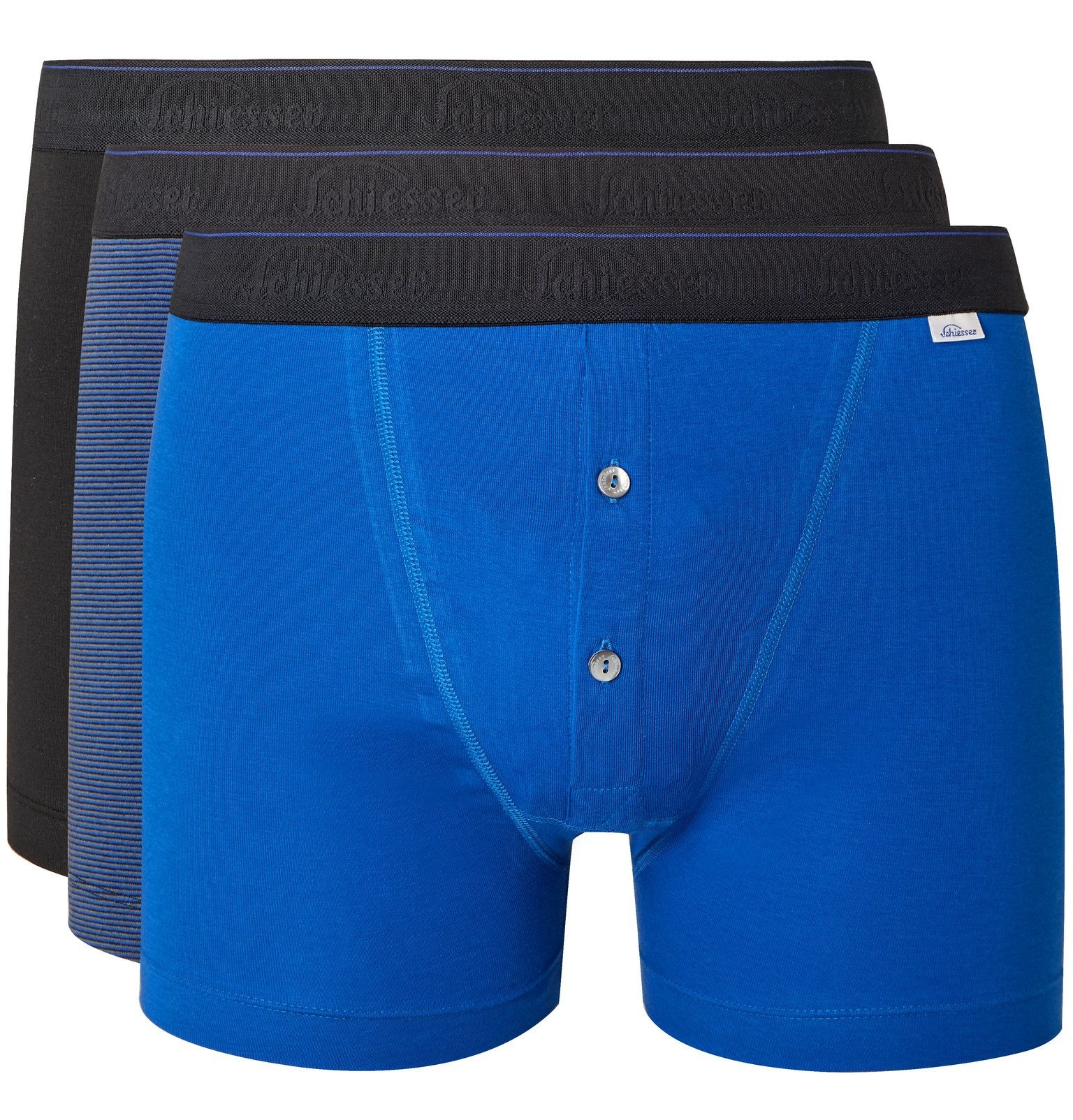 Photo: Schiesser - Ludwig Three-Pack Stretch-Cotton Jersey Boxer Shorts - Blue