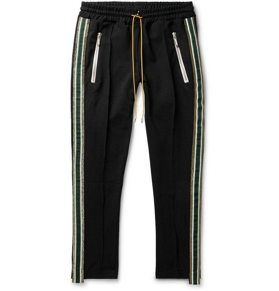 Photo: Rhude - Traxedo Tapered Cropped Webbing-Trimmed Satin-Jersey Drawstring Trousers - Men - Black