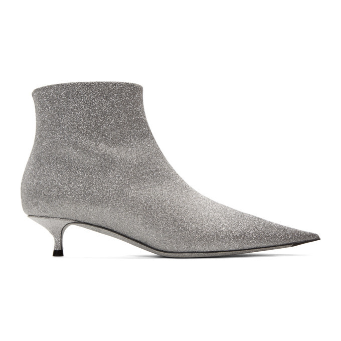 Balenciaga Silver Glitter Ankle Boots