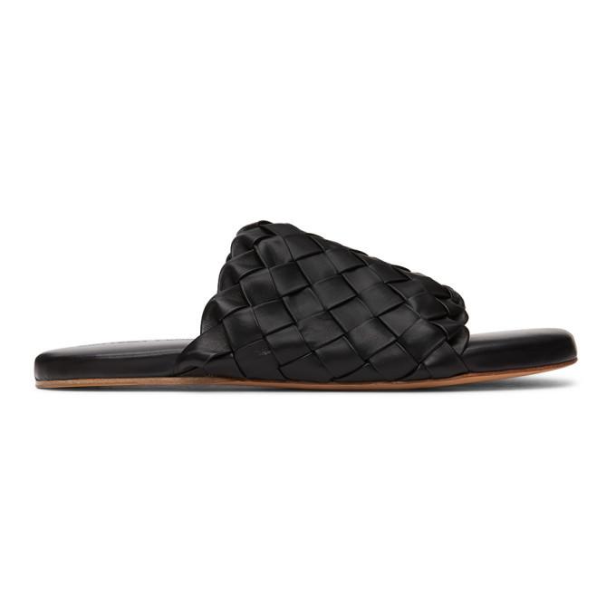 Photo: Bottega Veneta Black Intrecciato Slides