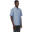 Dunhill Blue Poplin Striped Short Sleeve Shirt