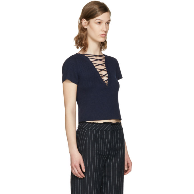 alexanderwang.t Navy Lace-Up Pullover
