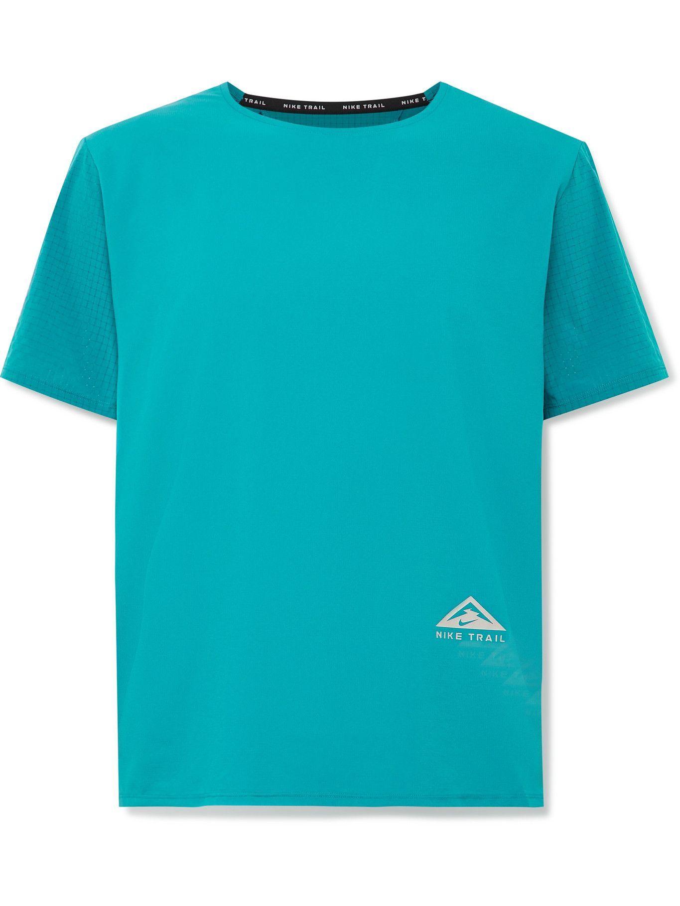 Photo: Nike Running - Rise 365 Logo-Print Dri-FIT Ripstop T-Shirt - Blue