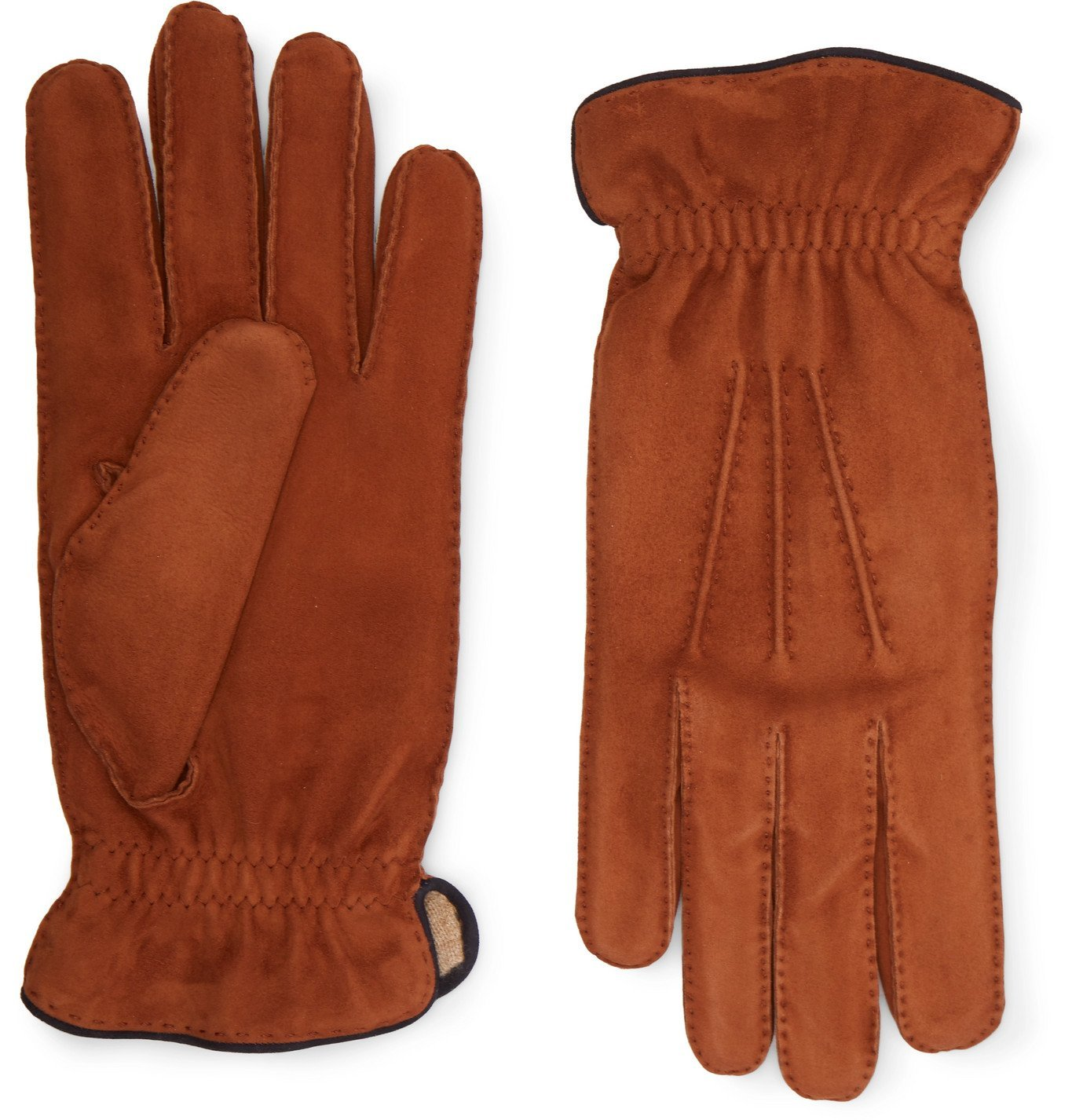 Photo: Brunello Cucinelli - Cashmere-Lined Suede Gloves - Brown