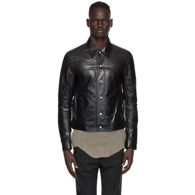 Photo: Rick Owens Black Leather Worker Jacket