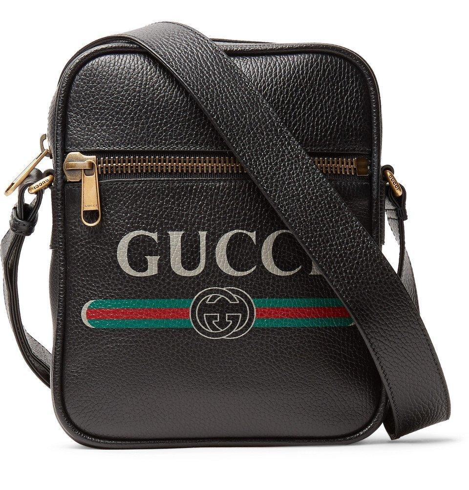 Photo: Gucci - Logo-Print Full-Grain Leather Messenger Bag - Black