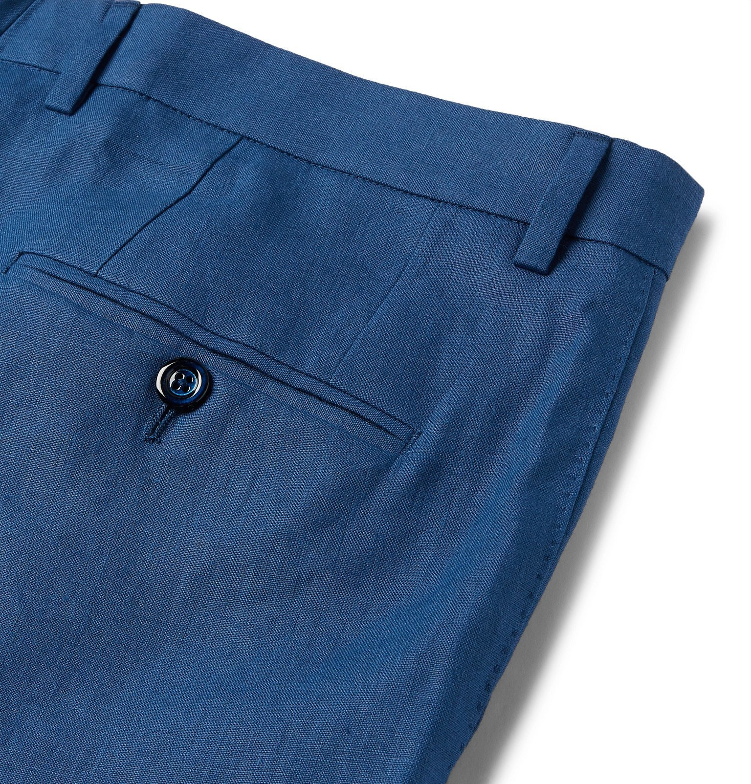 Dolce & Gabbana - Slim-Fit Tapered Pleated Linen Trousers - Blue