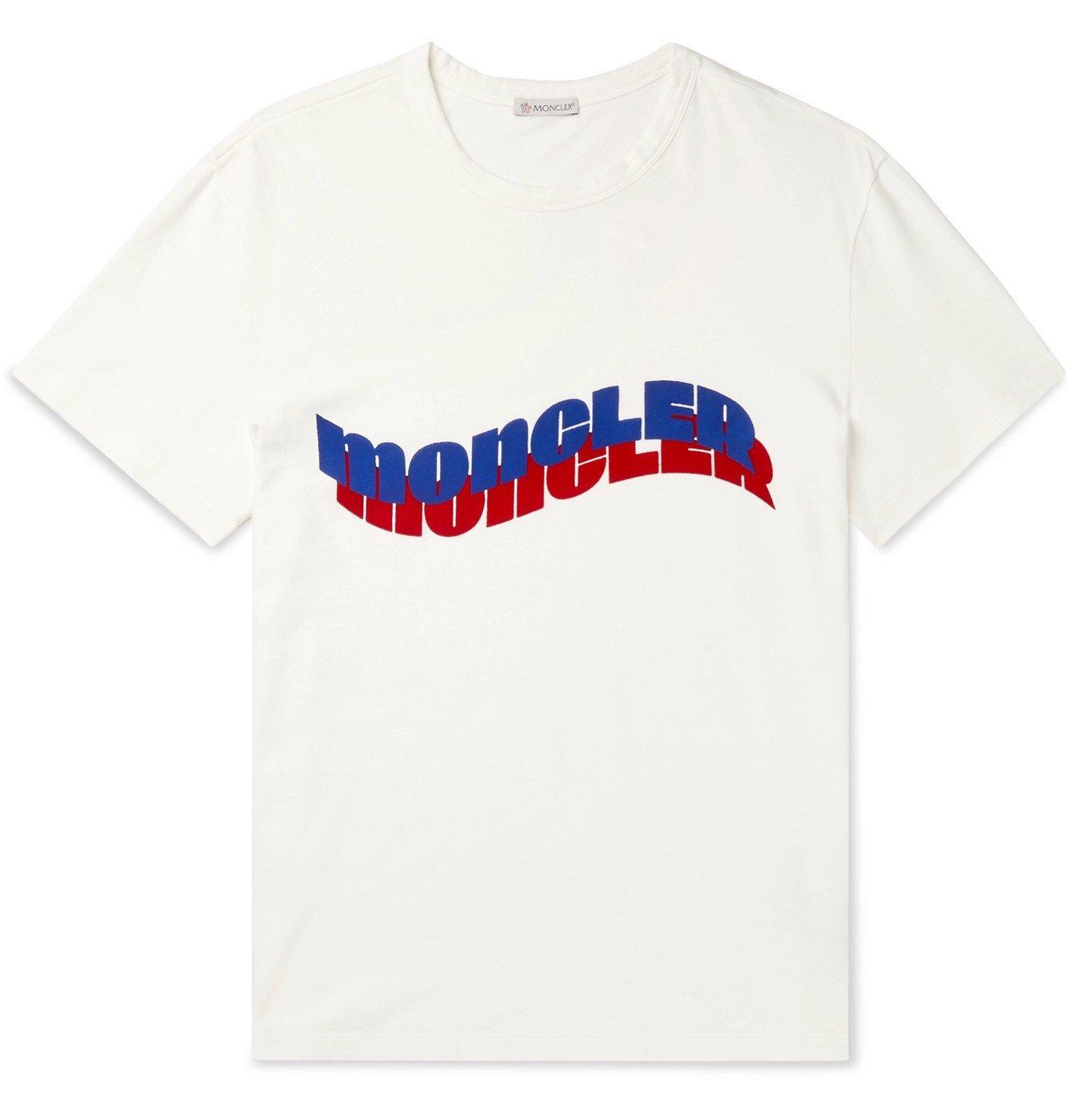 Photo: Moncler - Logo-Flocked Cotton-Jersey T-Shirt - White