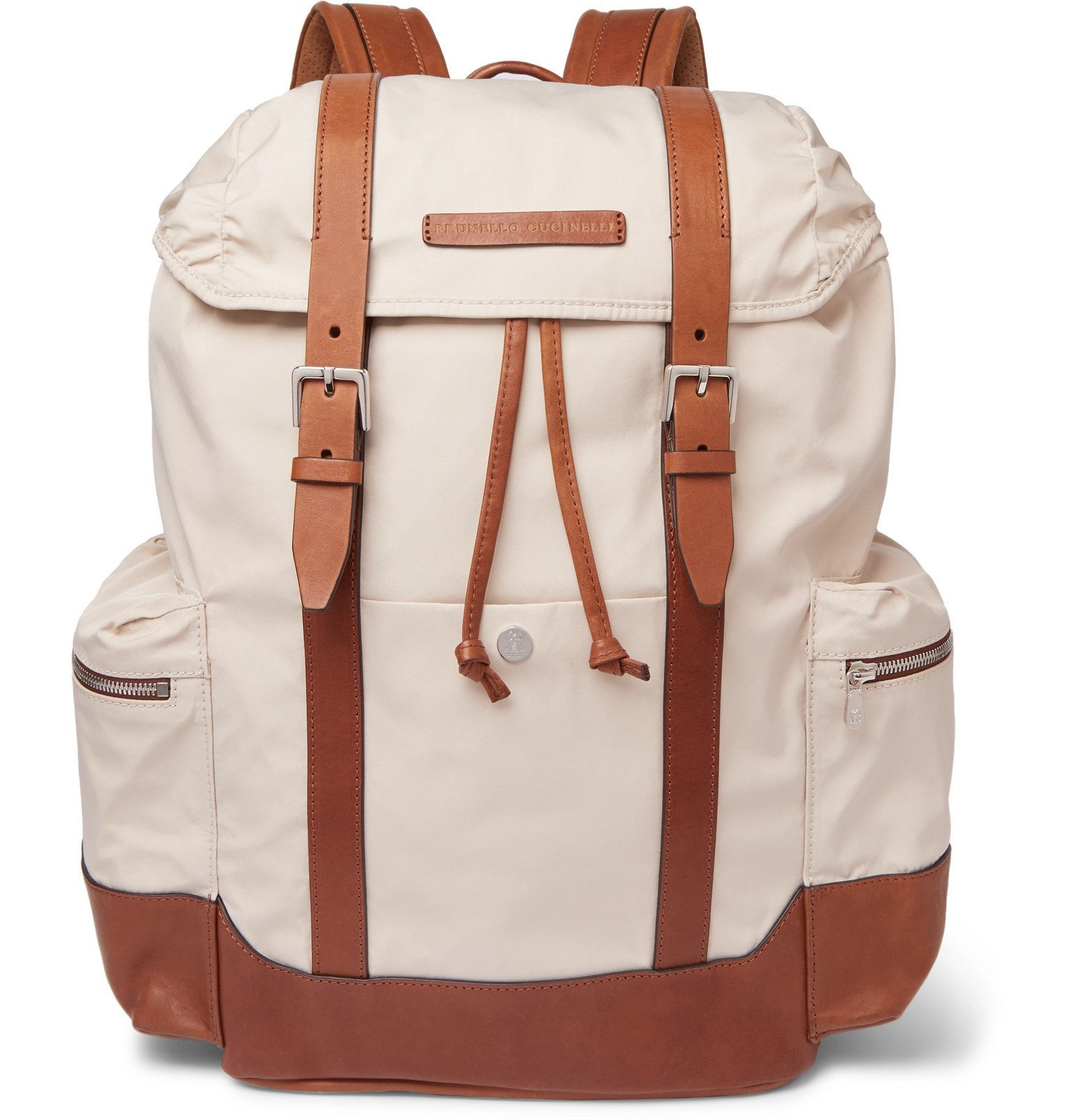 Photo: Brunello Cucinelli - Leather-Trimmed Canvas Backpack - Neutrals