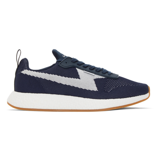 Photo: PS by Paul Smith Navy and White Knit Zeus Sneakers