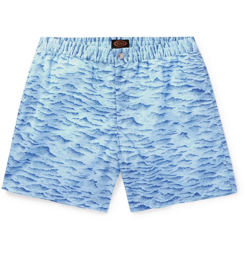 Photo: Tod's - Mid-Length Printed Swim Shorts - Blue