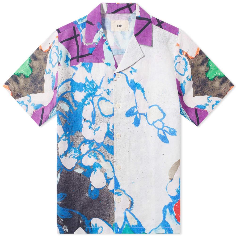 Photo: Folk Short Sleeve Soft Collar Vacation Shirt