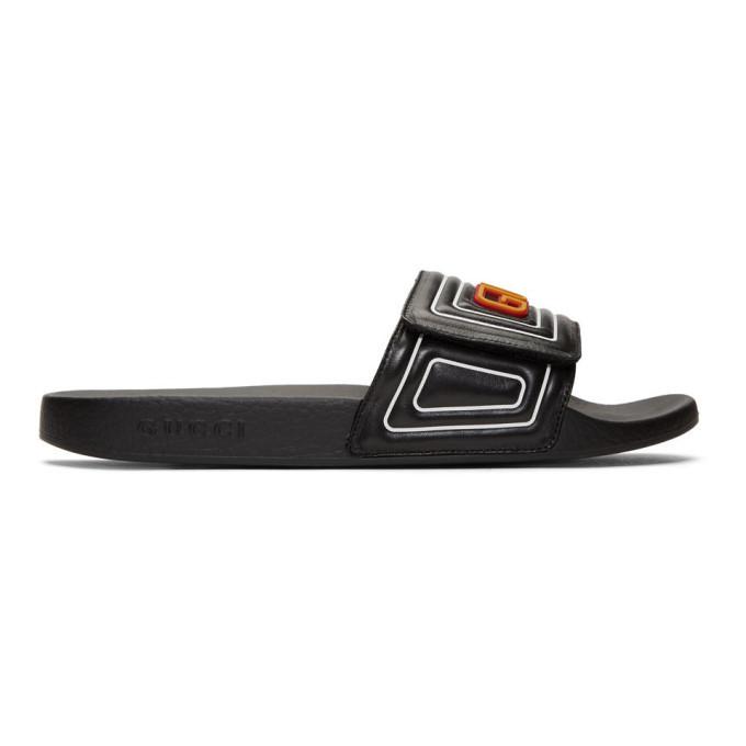 Photo: Gucci Black Leather Logo Slides