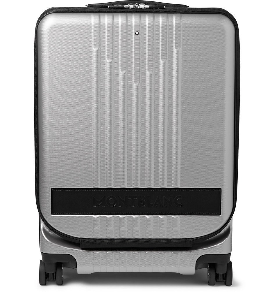 Photo: Montblanc - #MY4810 Cabin Trolley 55cm Leather-Trimmed Polycarbonate Suitcase - Silver