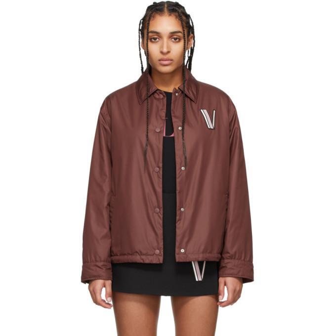 Photo: Valentino Burgundy Button Down Poplin Jacket