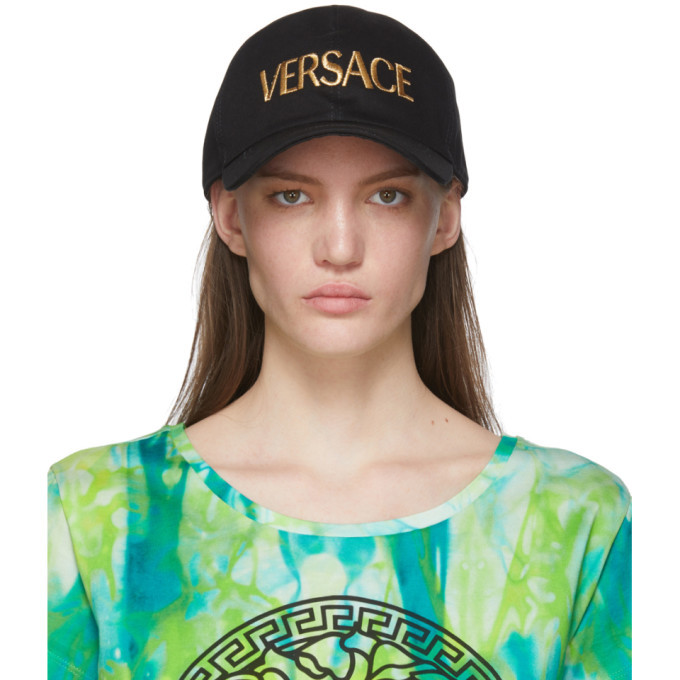 Photo: Versace Black and Gold Embroidered Logo Cap