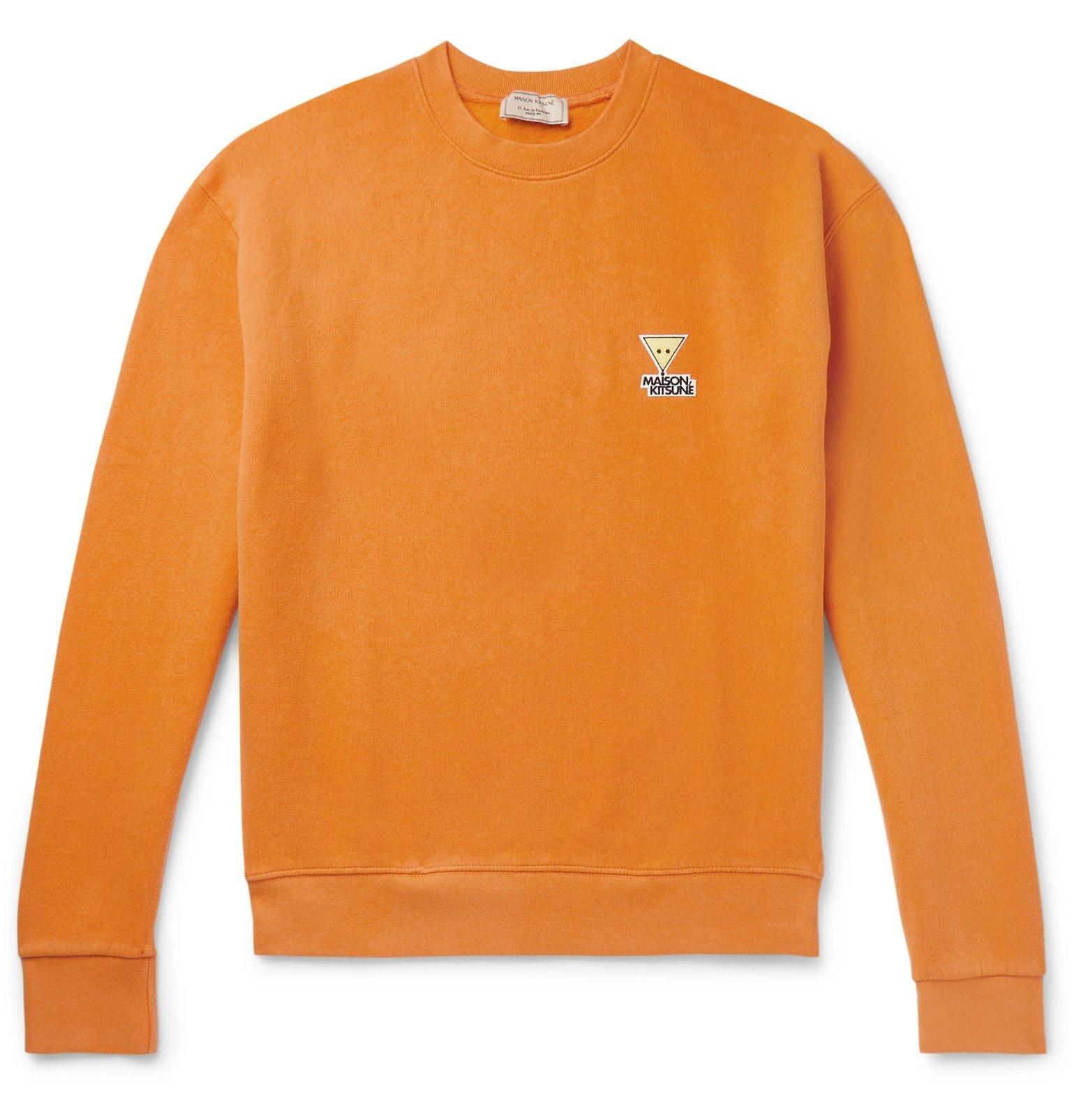 Photo: Maison Kitsuné - Logo-Appliquéd Fleece-Back Cotton and Wool-Blend Sweatshirt - Orange