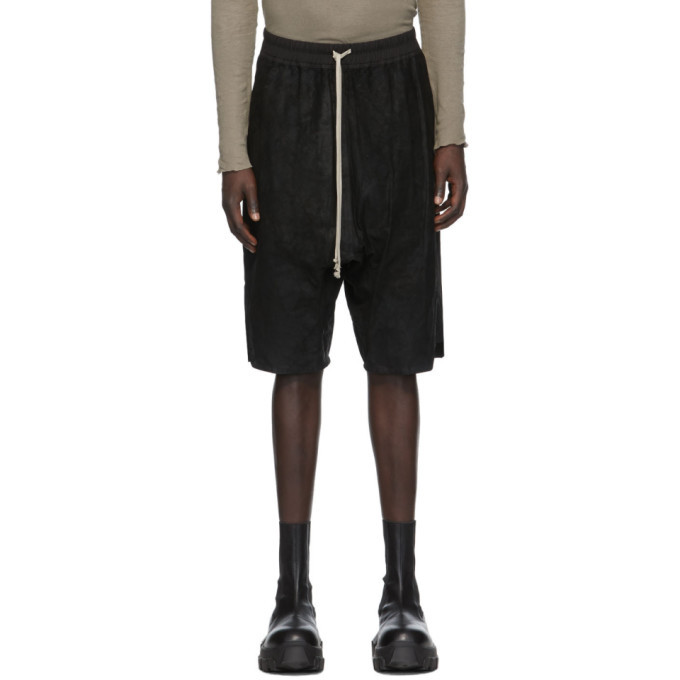 Photo: Rick Owens Black Blistered Leather Basket Swinger Shorts