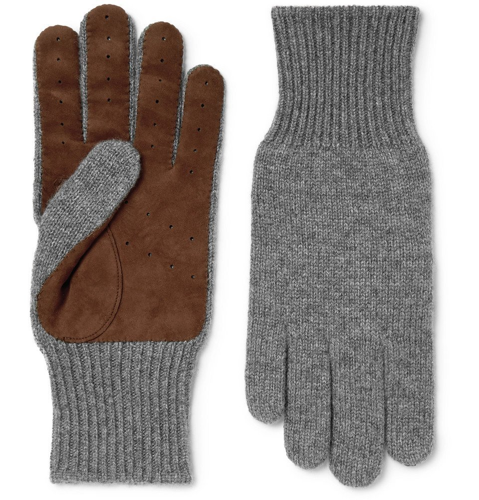 Photo: Brunello Cucinelli - Suede-Panelled Cashmere Gloves - Gray