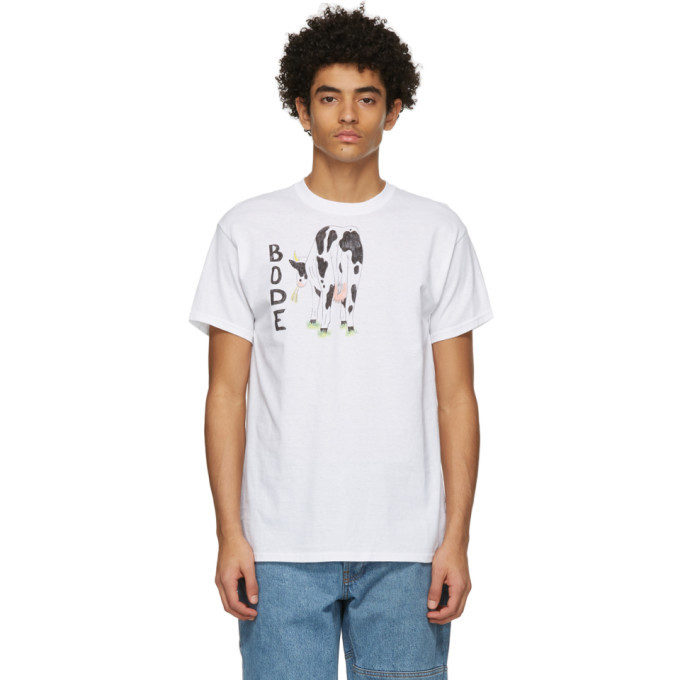 Photo: Bode White Hand-Drawn Cows Tail T-Shirt
