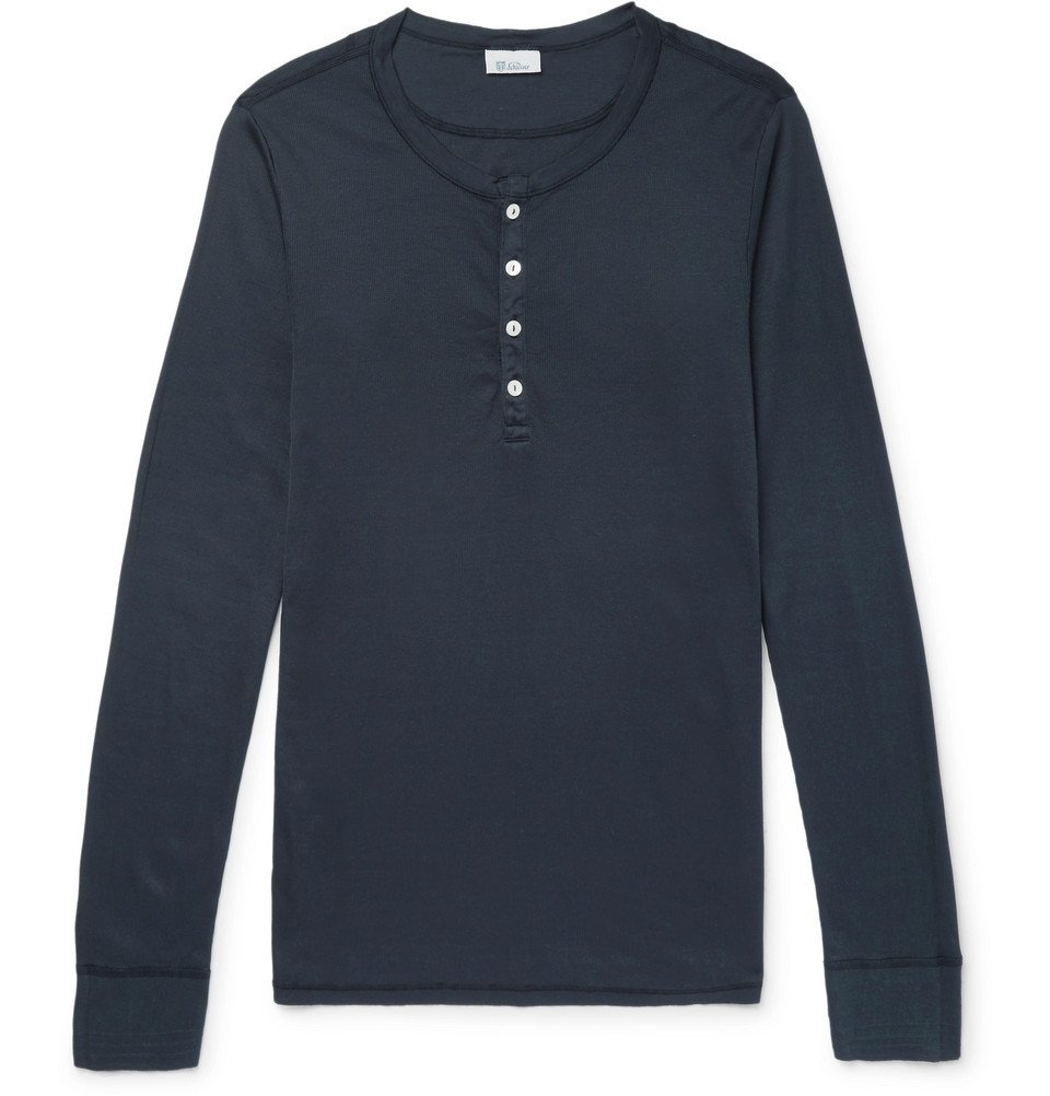 Schiesser - Slim-Fit Ribbed Cotton-Jersey Henley T-Shirt - Blue