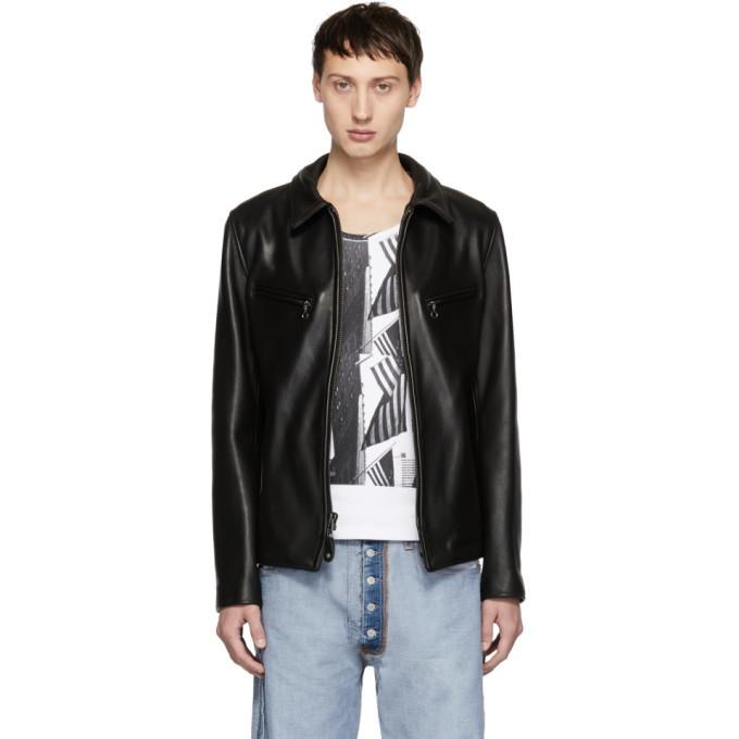 Photo: Schott Black Leather James Retro Jacket