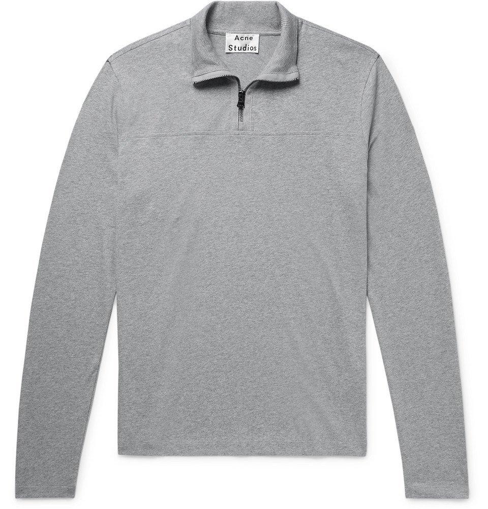 Photo: Acne Studios - Evias Mélange Cotton-Jersey Half-Zip Shirt - Gray