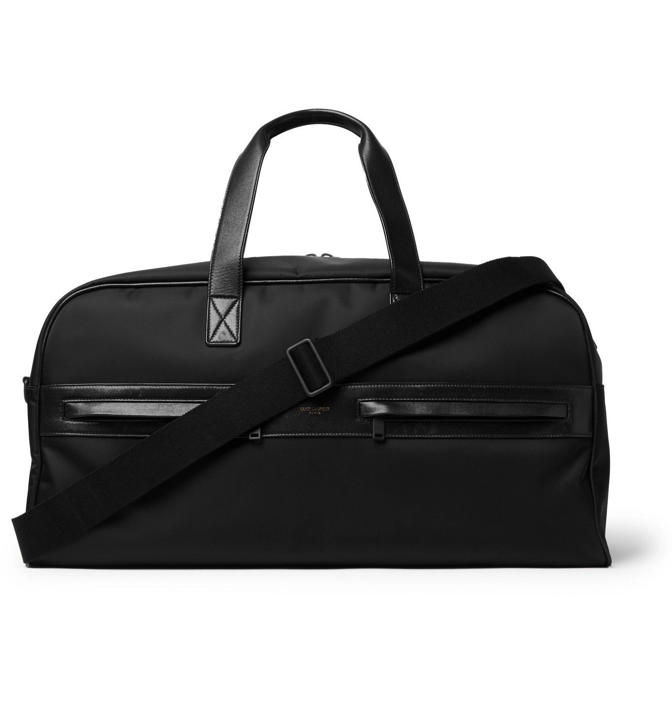 Photo: SAINT LAURENT - Camp Leather-Trimmed Shell Holdall - Black