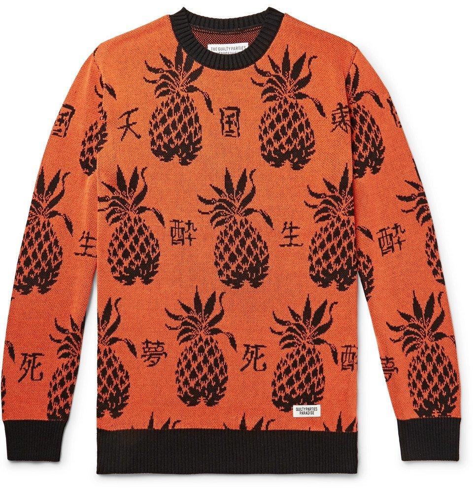 Photo: Wacko Maria - Cotton-Jacquard Sweater - Orange