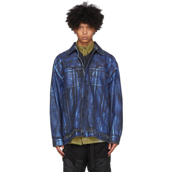 Photo: Ottolinger Blue Oversized Denim Painted Jacket