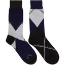 Sacai Navy and Black Argyle Socks