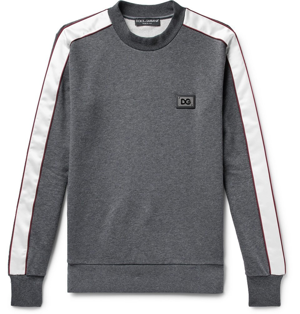 Photo: Dolce & Gabbana - Satin-Trimmed Logo-Appliquéd Loopback Cotton-Jersey Sweatshirt - Dark gray