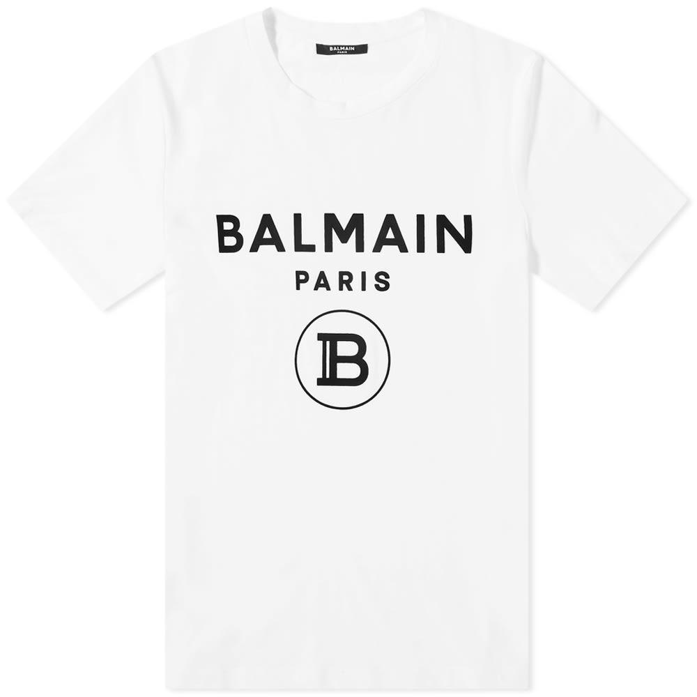 Photo: Balmain Flocked B Logo Tee