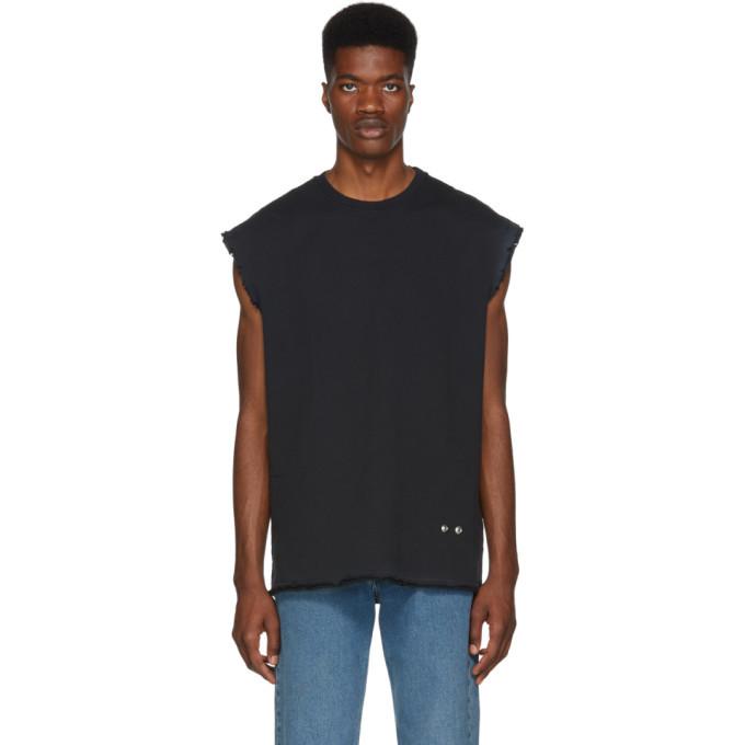 Photo: Helmut Lang Black Distressed Sleeveless T-Shirt