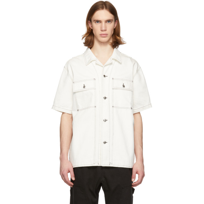 Photo: Alexander Wang White Overdyed Denim Short Sleeve Shirt